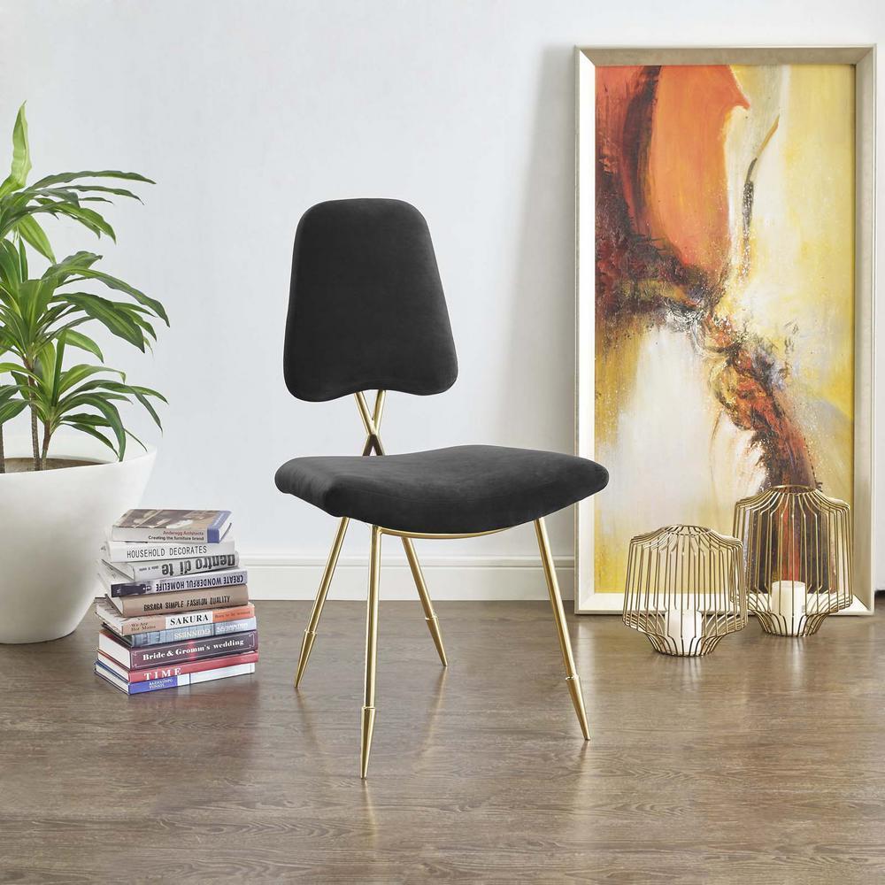 MODWAY Ponder Upholstered Velvet Dining Side Chair in Black EEI-2811-BLK
