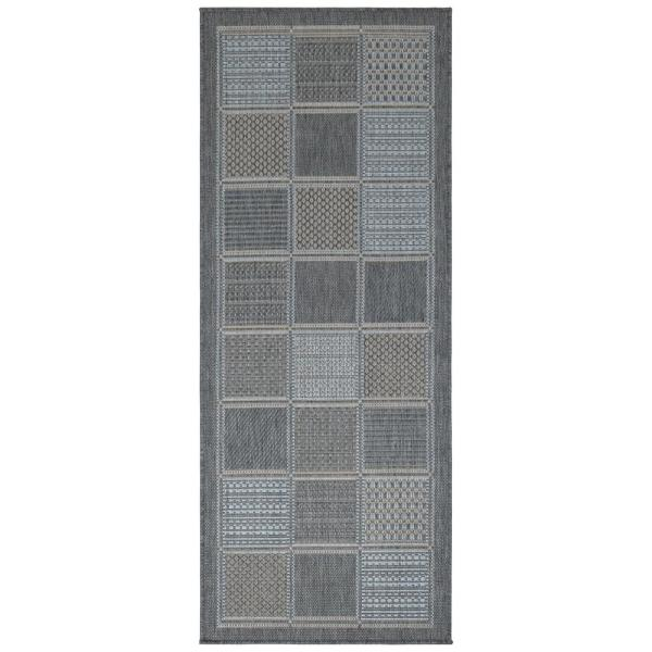 Jardin Collection Gray Contemporary Boxes Design Indoor/Outdoor 1 ft. 8 in. x 4 ft. 11 in. Jute Back Runner Rug