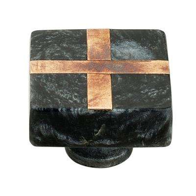 Frosted Marble Style 1-2/5 in. (36 mm) Black Cabinet Knob