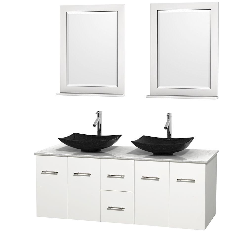 Wyndham Collection Centra 60 in. Double Vanity in White with Marble Vanity Top in Carrara White, Black Granite Sinks and 24 in. Mirrors