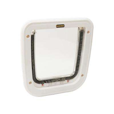 8.1 in. x 8.7 in. White 4-Way Locking Cat Flap