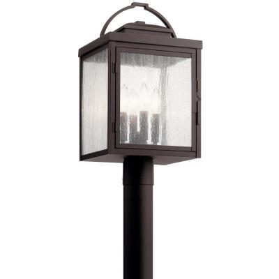 Carlson 4-Light Outdoor Rubbed Bronze Post Light with Clear Seeded Glass