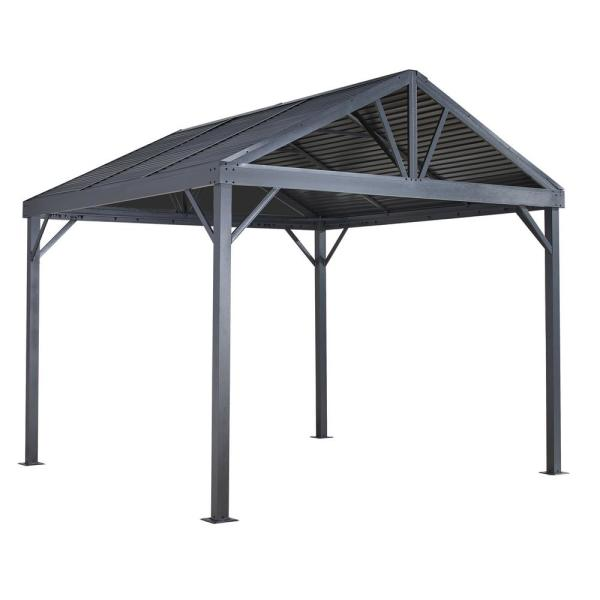10 ft. D x 10 ft. W Sanibel Aluminum Gazebo with Galvanized Steel Roof Panels, 2-Track System, and Mosquito Netting