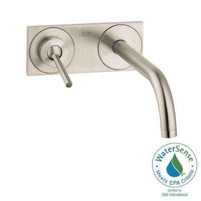 Uno Single-Handle Wall Mount Bathroom Faucet with Low-Arc in Brushed Nickel
