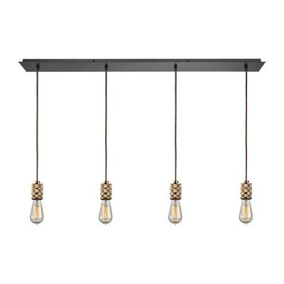Camley 4-Light Polished Gold and Oil Rubbed Bronze Pendant