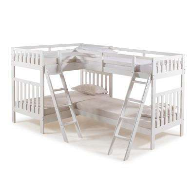 Aurora White Twin Over Twin Bunk Bed with Quad Bunk Extension