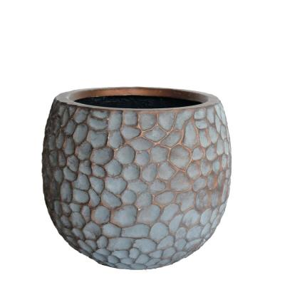 14.125 in. D Medium Patina Grey Composite Hammered Planter