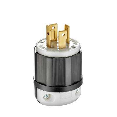 30 Amp 125/250-Volt Locking Plug, Black and White