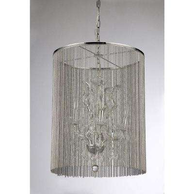 Rosalias Modern Cage 6-Light Chrome Chandelier with Shade