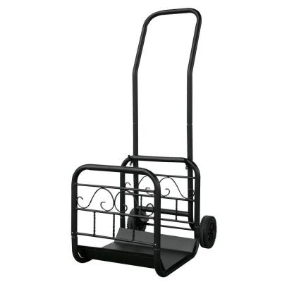 Black Decorative Steel 16.5 in. W Firewood Cart