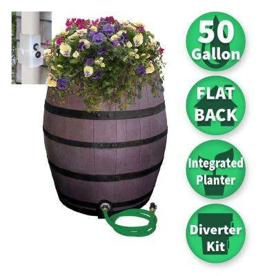 50 Gal. Brown Flat Back Whiskey Rain Barrel with Integrated Planter and Diverter System with Black Accent Bands