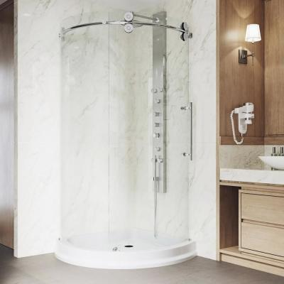 Sanibel 43.625 in. x 79.5 in. Frameless Bypass Shower Enclosure in Chrome with Right Side Opening and Base