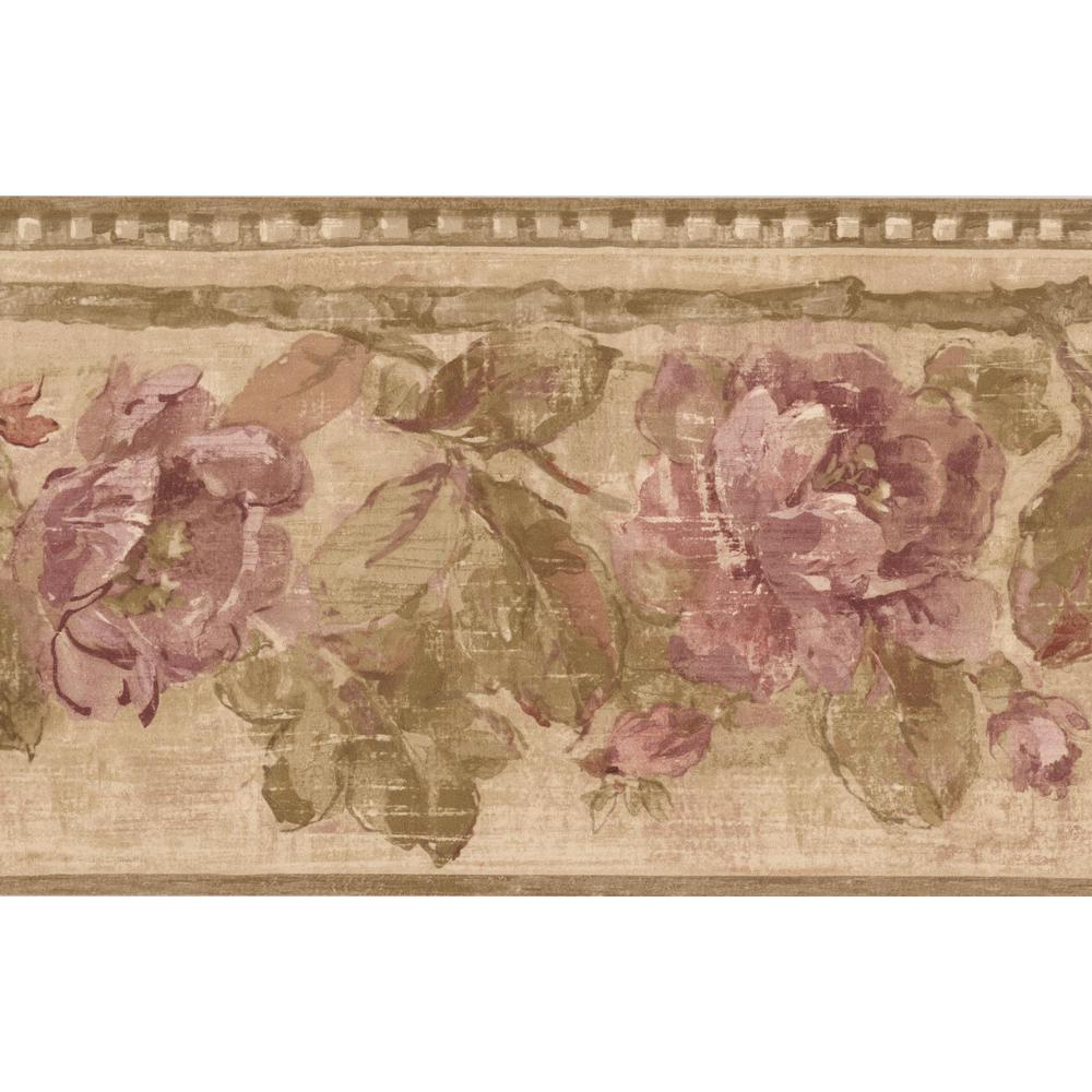 Retro Art Purple Roses Floral Rustic Prepasted Wallpaper Border