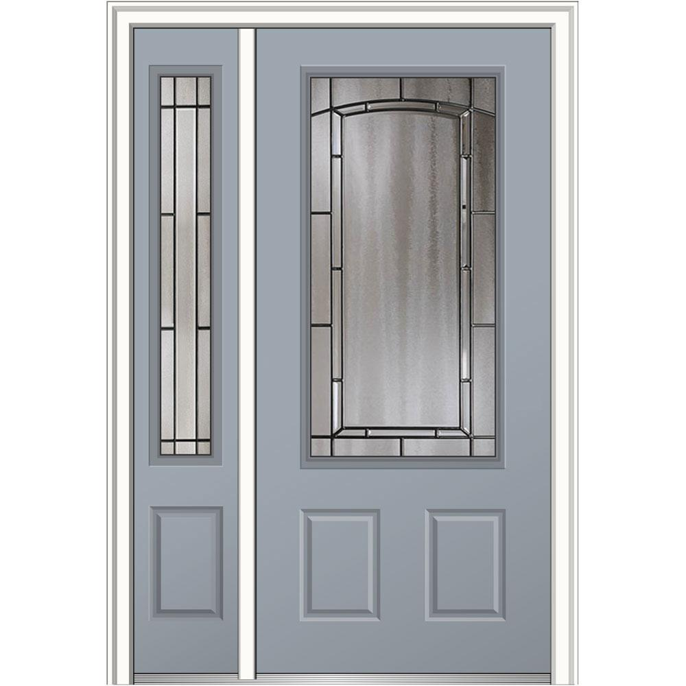 Mmi door 48 in x 80 in solstice right hand 3 4 lite 2 for Prehung exterior doors with storm door