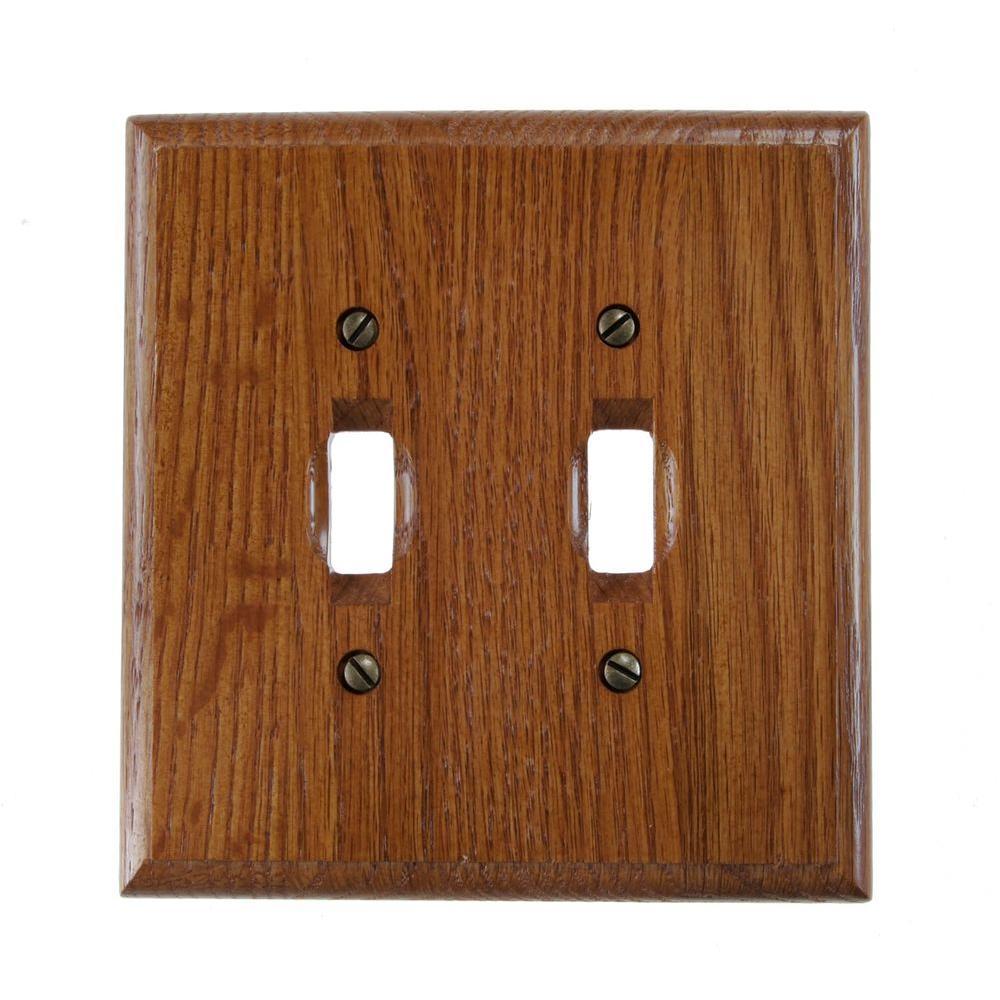 2 Toggle Wall Plate - Red Oak
