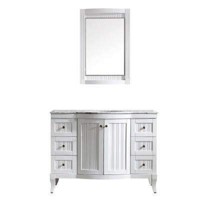 Verona 48 in. W x 23 in. D x 35 in. H Vanity in White with Marble Vanity Top in White with Basin and Mirror