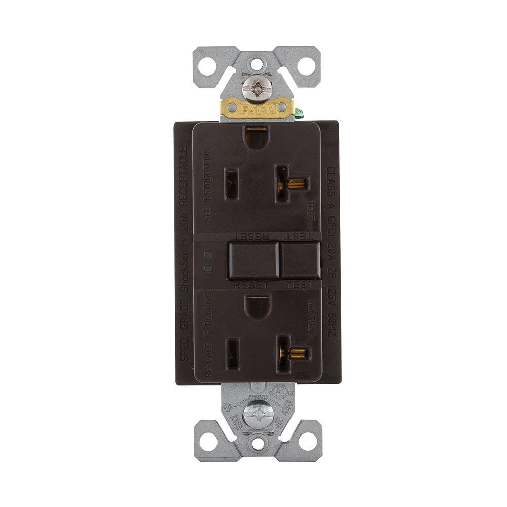 Eaton GFCI Self-Test 20A -125V Duplex Receptacle with Standard Size ...