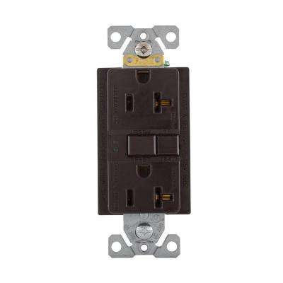 GFCI Self-Test 20A -125V Duplex Receptacle with Standard Size Wallplate, Brown