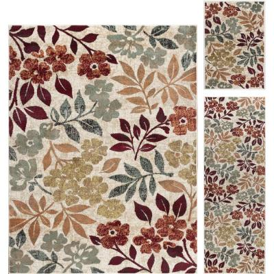 Deco Cream 5 ft. x 7 ft. Floral 3-Piece Rug Set
