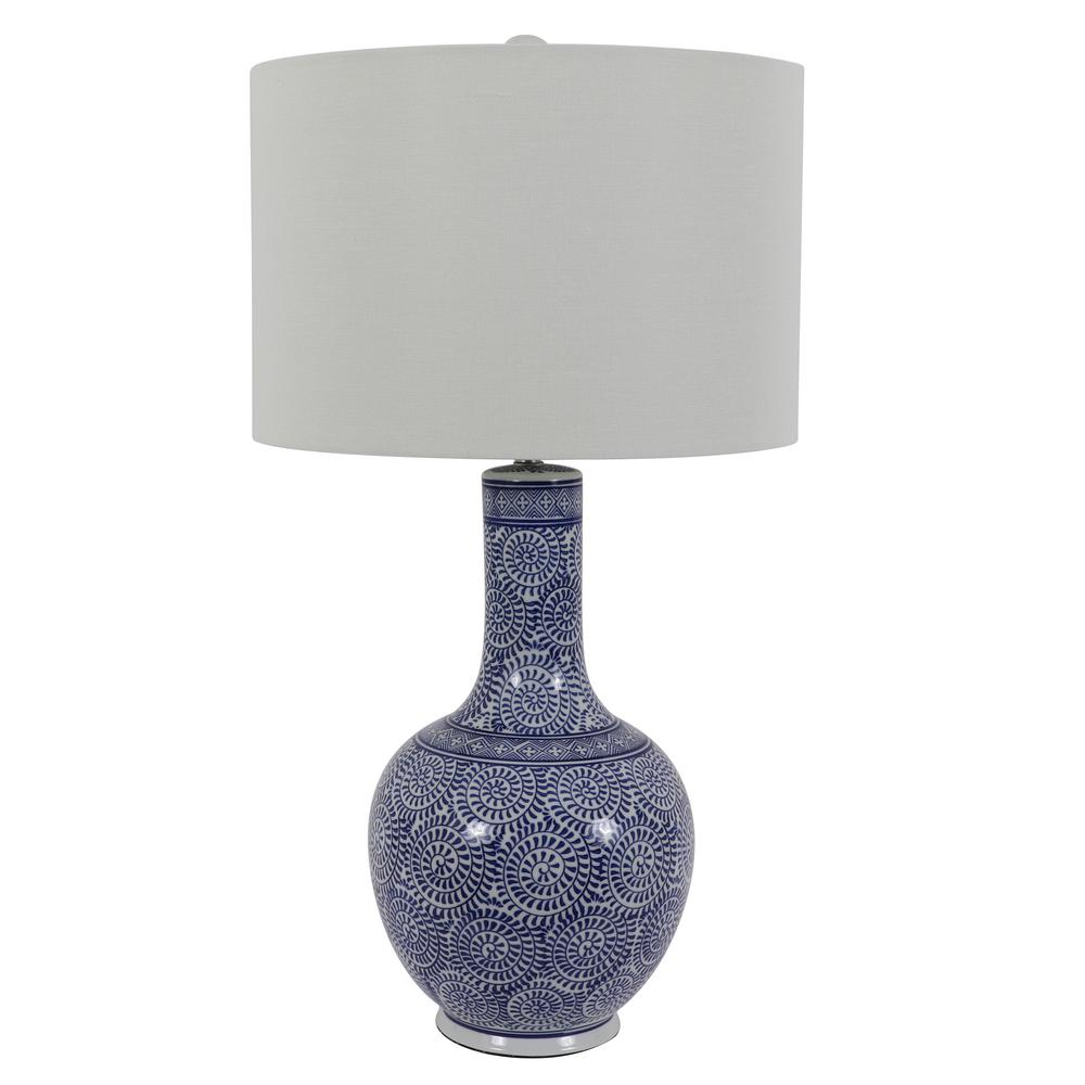 Decor Therapy 27 5 In Ceramic Led Blue And White Table