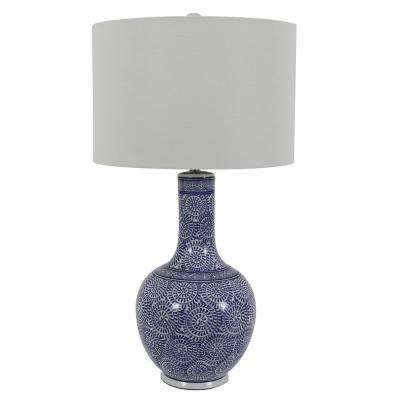 27.5 in. Ceramic LED Blue and White Table Lamp with Shade