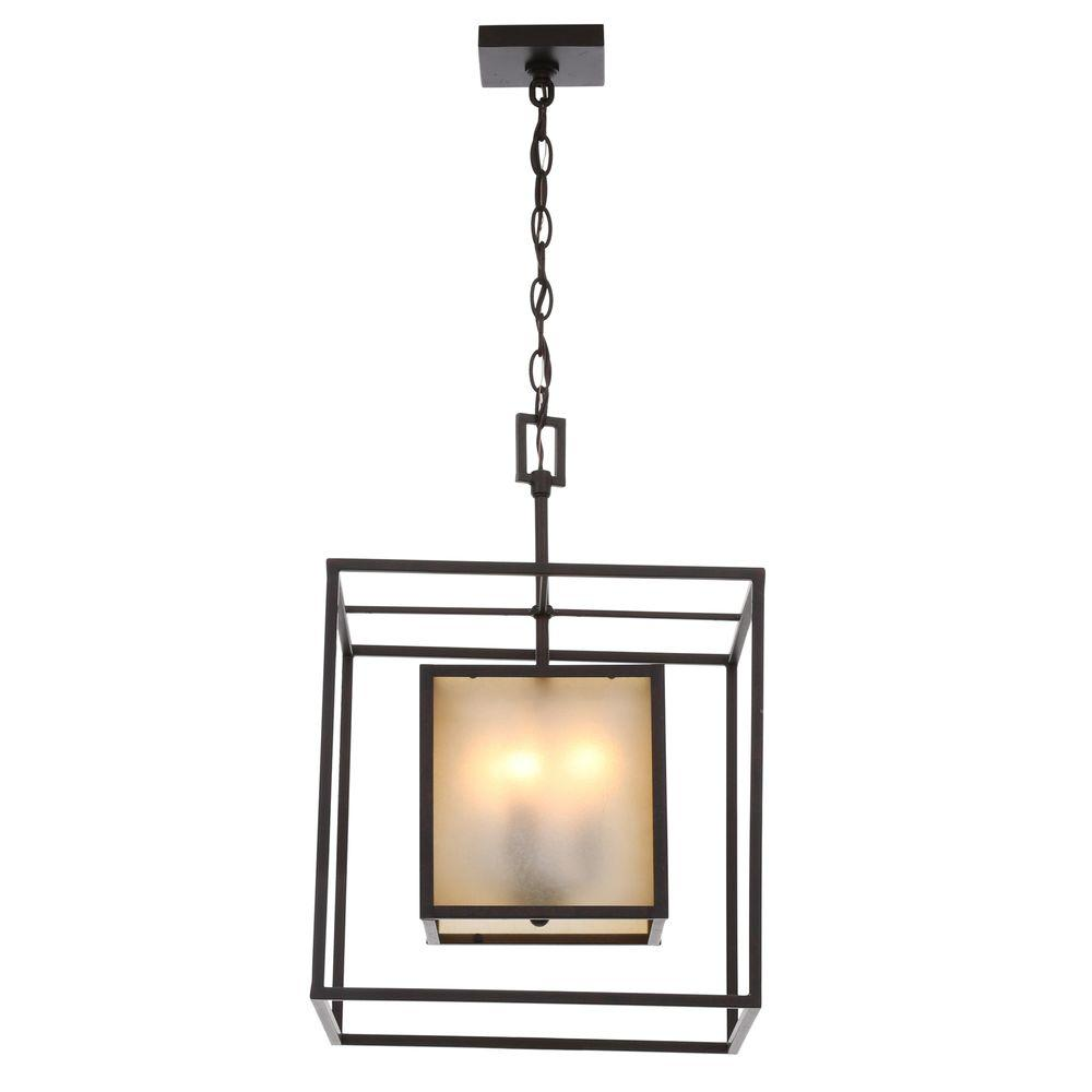 World Imports Hilden Collection 4-Light Aged Bronze Hanging Pendant