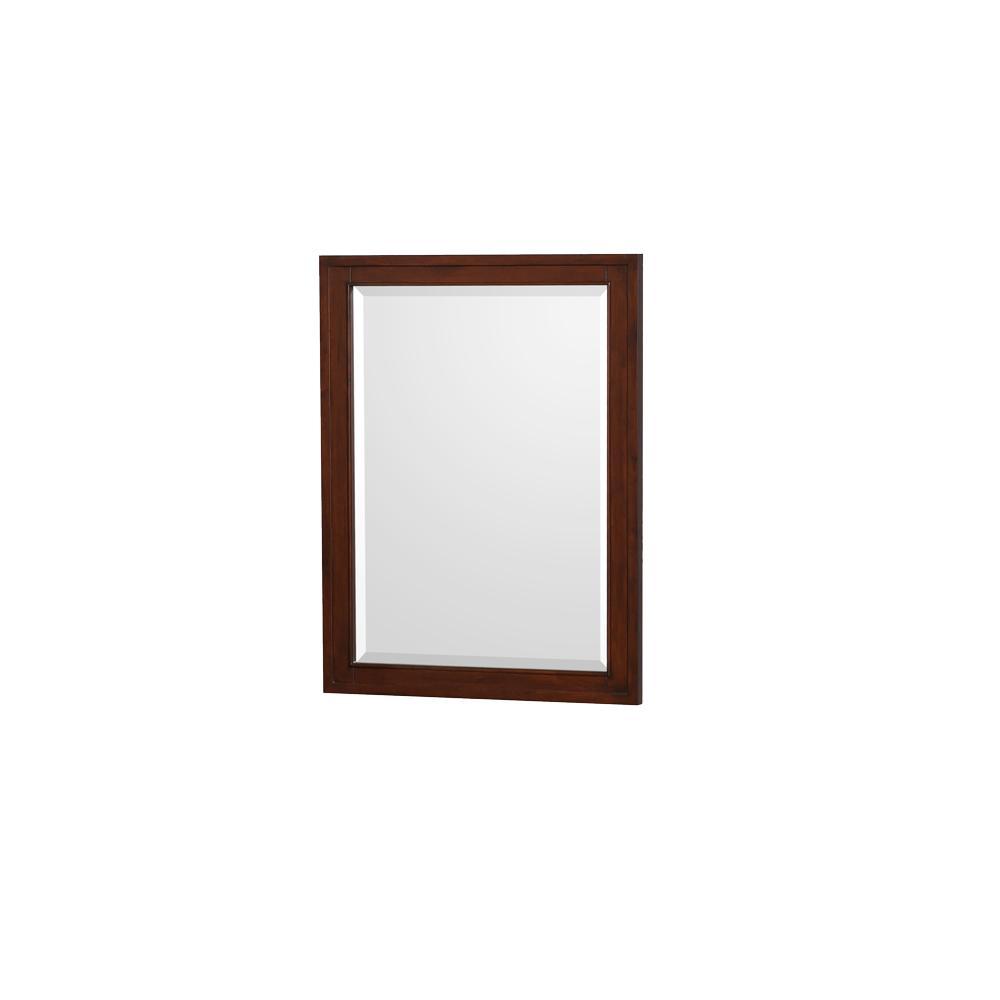 Hatton 24 in. W x 31.75 in. H Framed Wall Mirror in Dark Chestnut