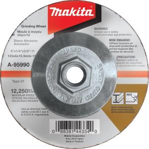 Makita 5 inch x 1/4 inch x 5/8 inch 36-Grit INOX Grinding Wheel for use with 5 inch angle grinders by Makita