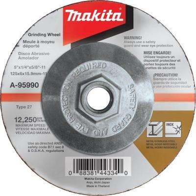 5 in. x 1/4 in. x 5/8 in. 36-Grit INOX Grinding Wheel for use with 5 in. angle grinders