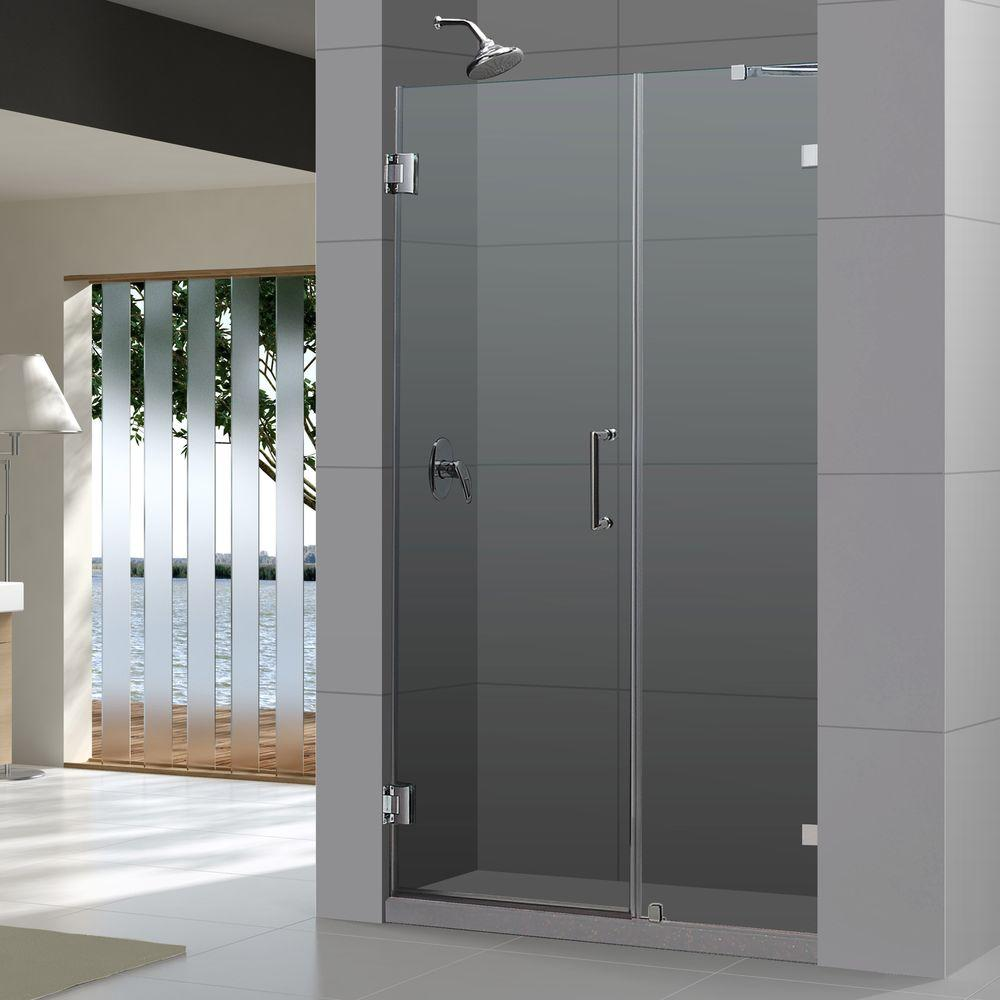 dreamline unidoor lux 44 in x 72 in frameless pivot shower door in chrome with handle shdr. Black Bedroom Furniture Sets. Home Design Ideas