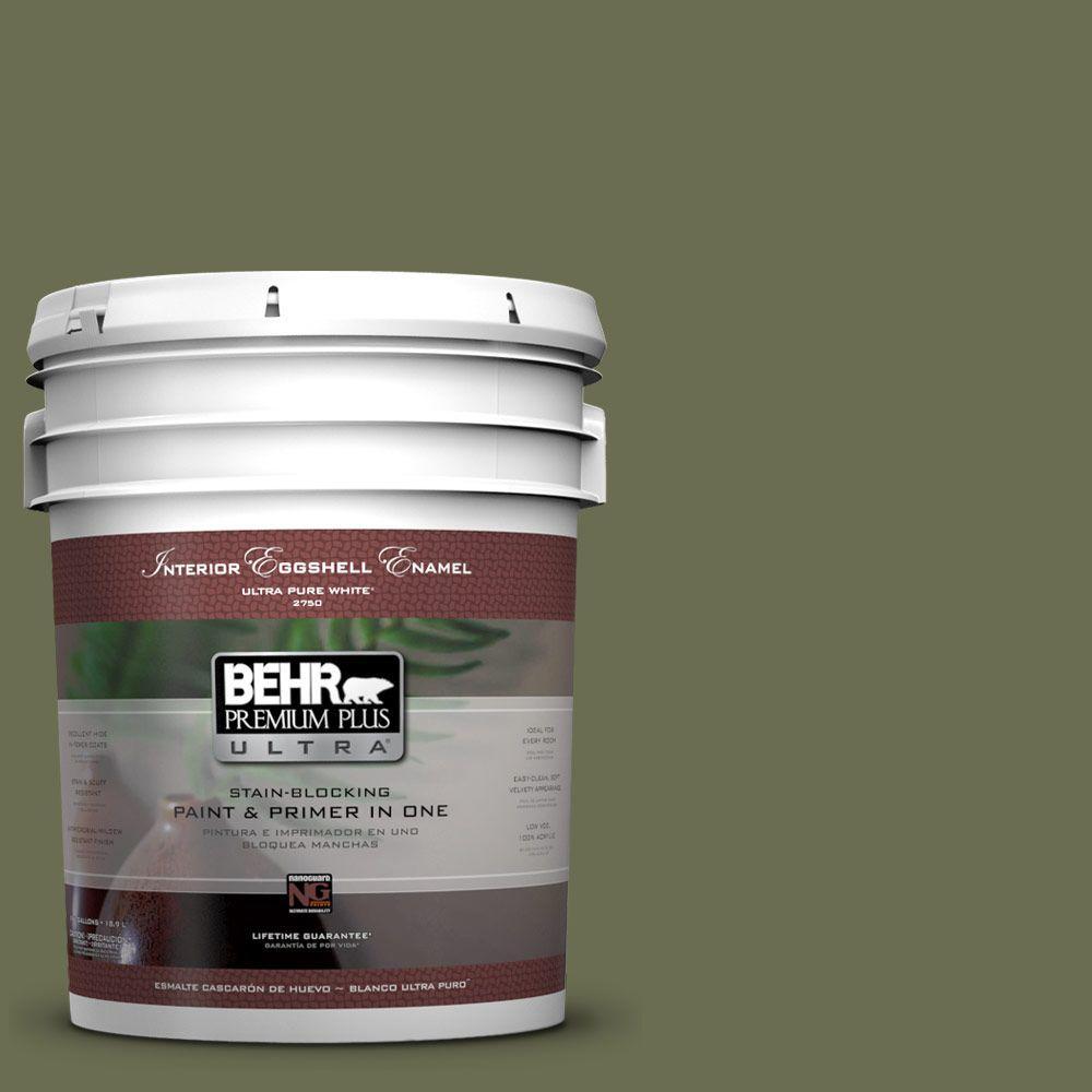 BEHR Premium Plus Ultra 5-gal. #S380-7 Global Green Eggshell Enamel Interior Paint