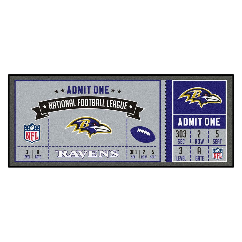 NFL - Baltimore Ravens 30 in. x 72 in. Indoor Ticket Runner Rug