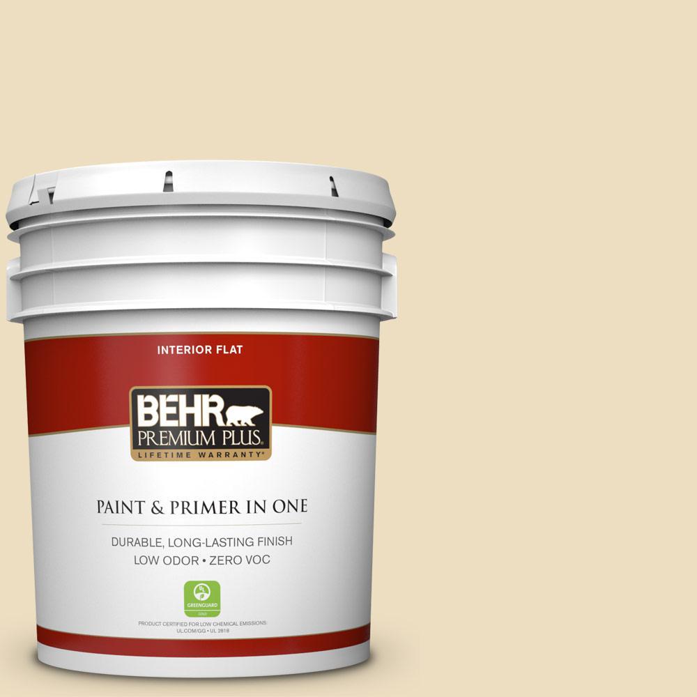 BEHR Premium Plus Home Decorators Collection 5-gal. #HDC-NT-17 New Cream Zero VOC Flat Interior Paint