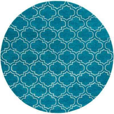 Signature Emily Teal 6 ft. x 6 ft. Round Indoor Area Rug
