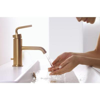 Purist Single-Hole Single Handle Low-Arc Vessel Bathroom Faucet in Vibrant Moderne Brushed Gold