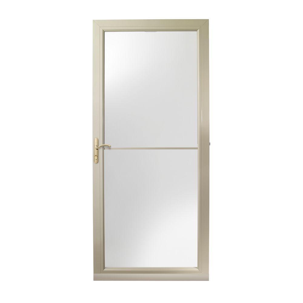 36 in. x 80 in. 3000 Series Sandtone Left-Hand Self-Storing Easy Install Aluminum Storm Door with Brass Hardware