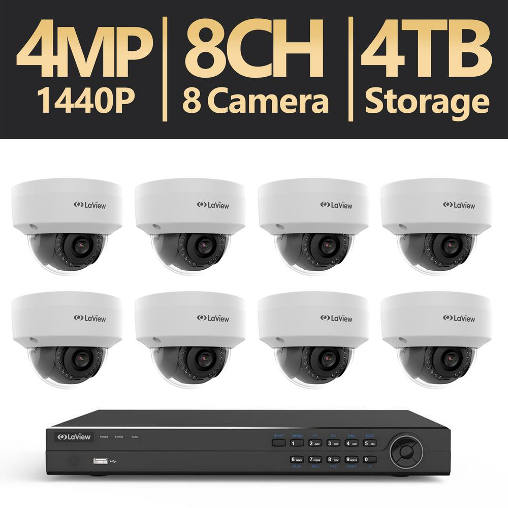 LaView 8-Channel Full HD 4MP IP Indoor/Outdoor Surveillance 4TB 4K ...