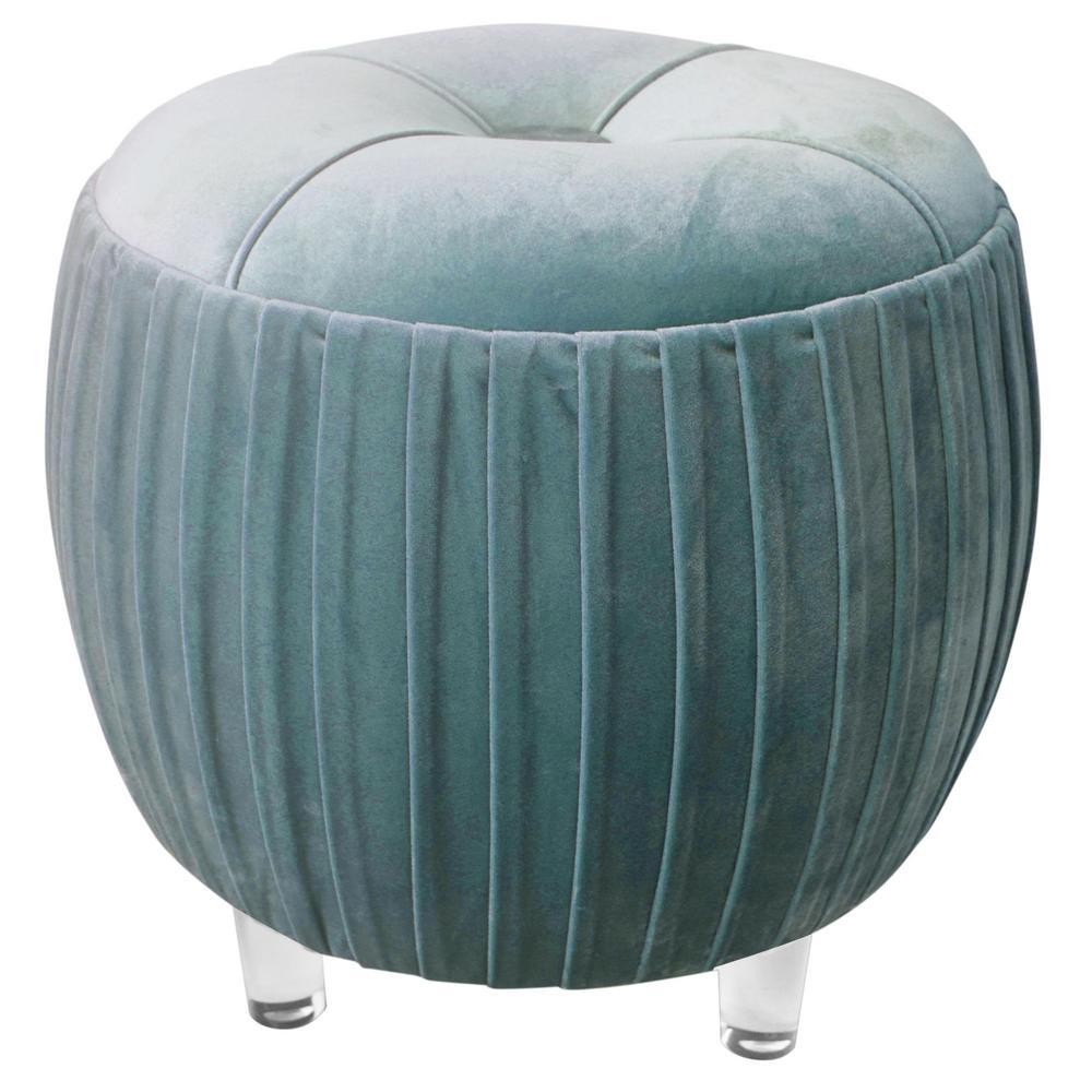 Helena Green Velvet Round Ottoman by