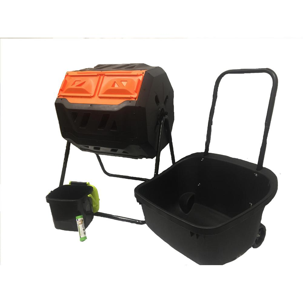 Genesis 42 Gal. Dual Compost Tumbler Combo with Compost Cart, 1.85 Gal.  Kitchen Caddie Compost Bin and 4 Rolls of Corn Bags