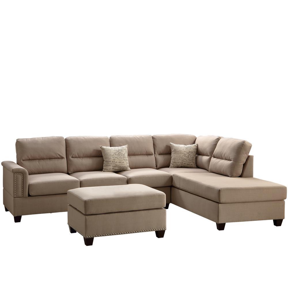 Cool Venetian Worldwide Naples 3 Piece Sand Sectional Sofa With Spiritservingveterans Wood Chair Design Ideas Spiritservingveteransorg