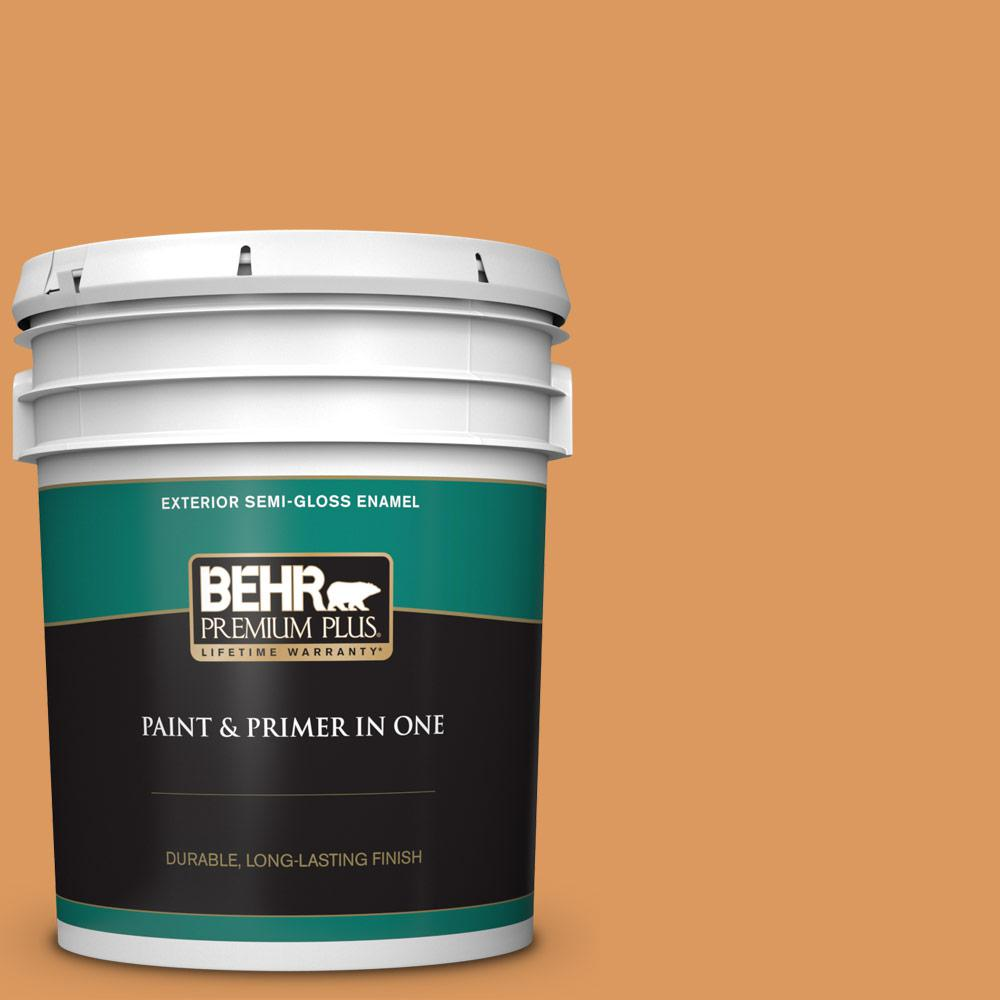 BEHR Premium Plus 5 gal  #M240-6 Stunning Gold Semi-Gloss Enamel Exterior  Paint and Primer in One