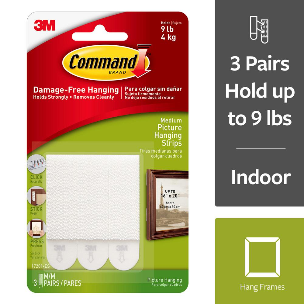 Command White 3 lbs. Medium Picture Hanging Strips (3-Sets of Adhesive Strips)
