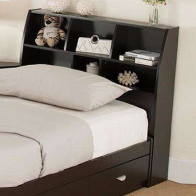 Lavish Dark Brown Twin Size Bookcase Headboard with 6-Separate Shelves