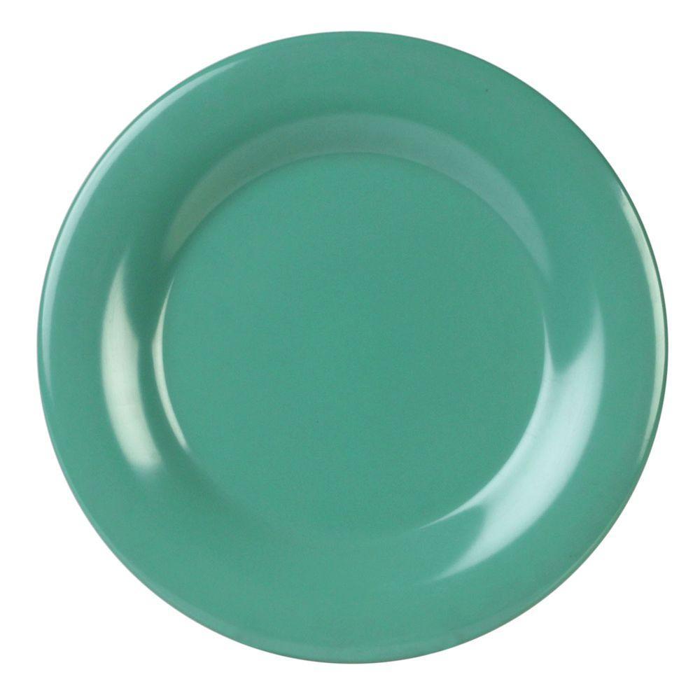 Coleur 10-1/2 in. Wide Rim Plate in Green (12-Piece)