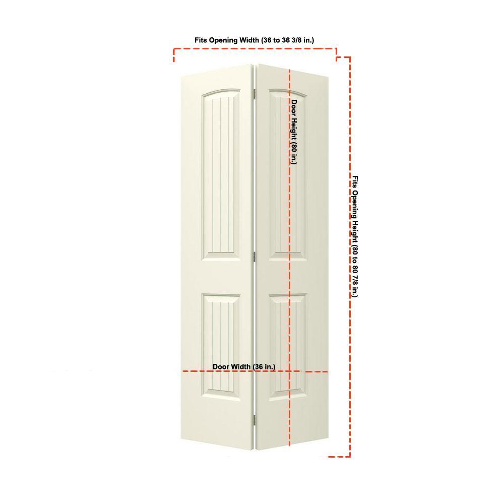 36 in. x 80 in. Santa Fe Vanilla Painted Smooth Molded Composite MDF Closet Bi-fold Door