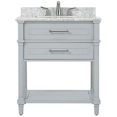 Aberdeen 30 in. W Open Shelf Vanity in Dove Grey with Natural Marble Vanity Top in White with White Basin