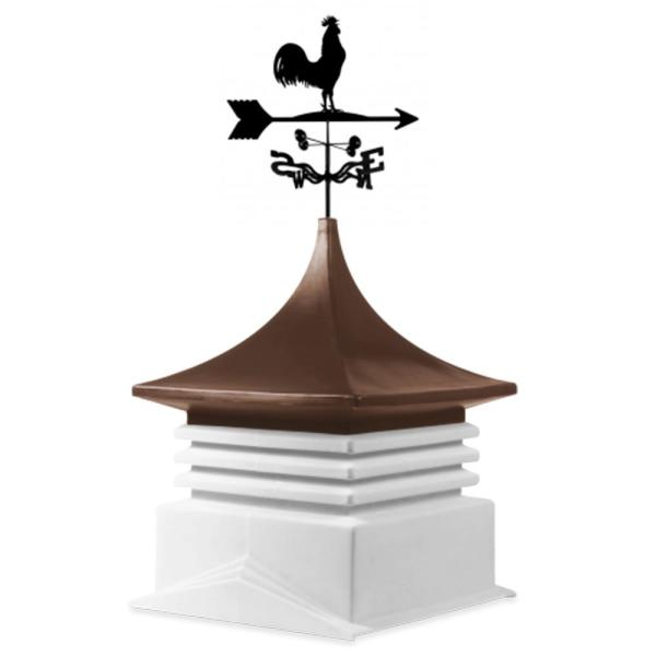 22 in. x 22 in. White Base and Brown Top Poly Cupola with Rooster Weathervane