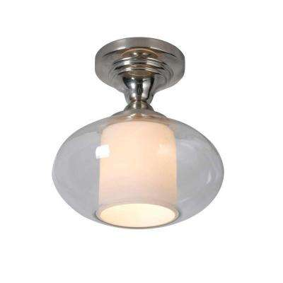 10.5 in. 1-Light Chrome Semi-Flushmount with Clear Glass and White Inner Glass Cylinder