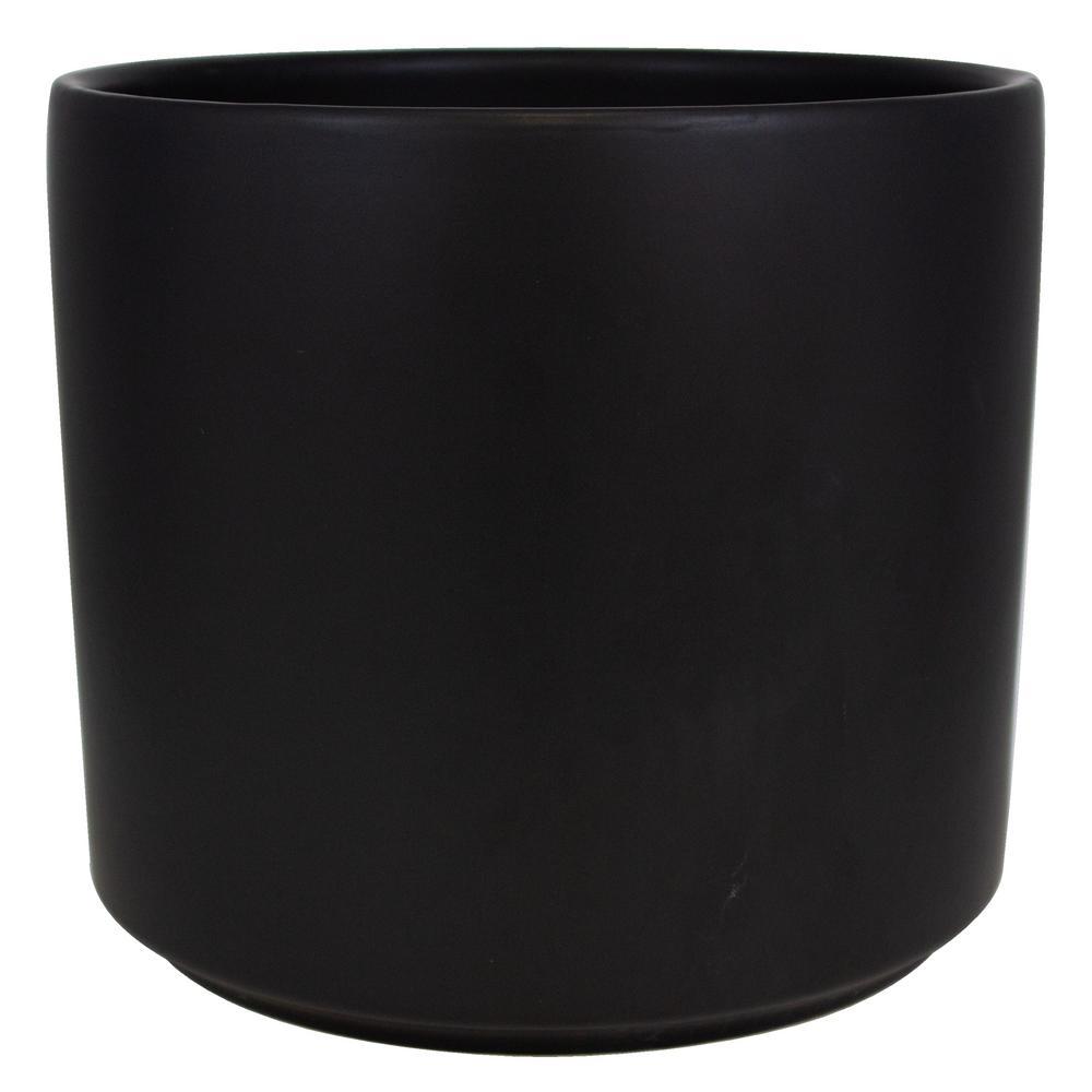 12 in. Matte Black Ceramic Cylinder Planter