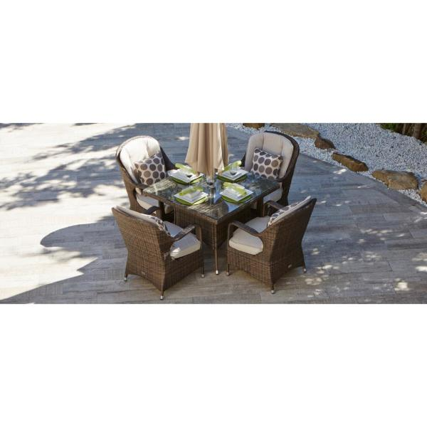 Malachi Brown 5-Piece Wicker Outdoor Dining Set with Beige Cushions